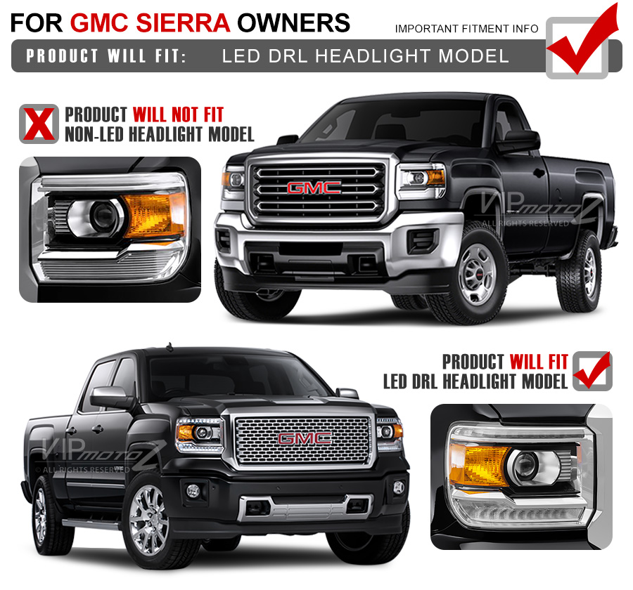 """2014-2015 GMC Sierra 1500 2500HD 3500HD Smoke """"OLED Neon"""