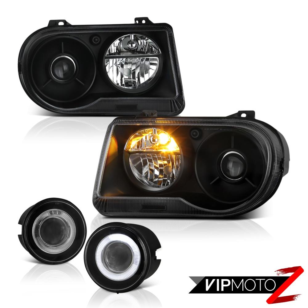 2005 2006 2007 Chrysler 300c Srt8 Clear Black Headlights: 2005 2006 2007 Chrysler 300C 5.7L Matte Black Headlights