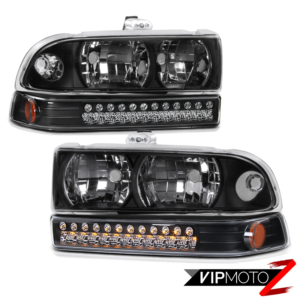 1998-2004 Chevy S10 Blazer Black Front Headlights LED DRL