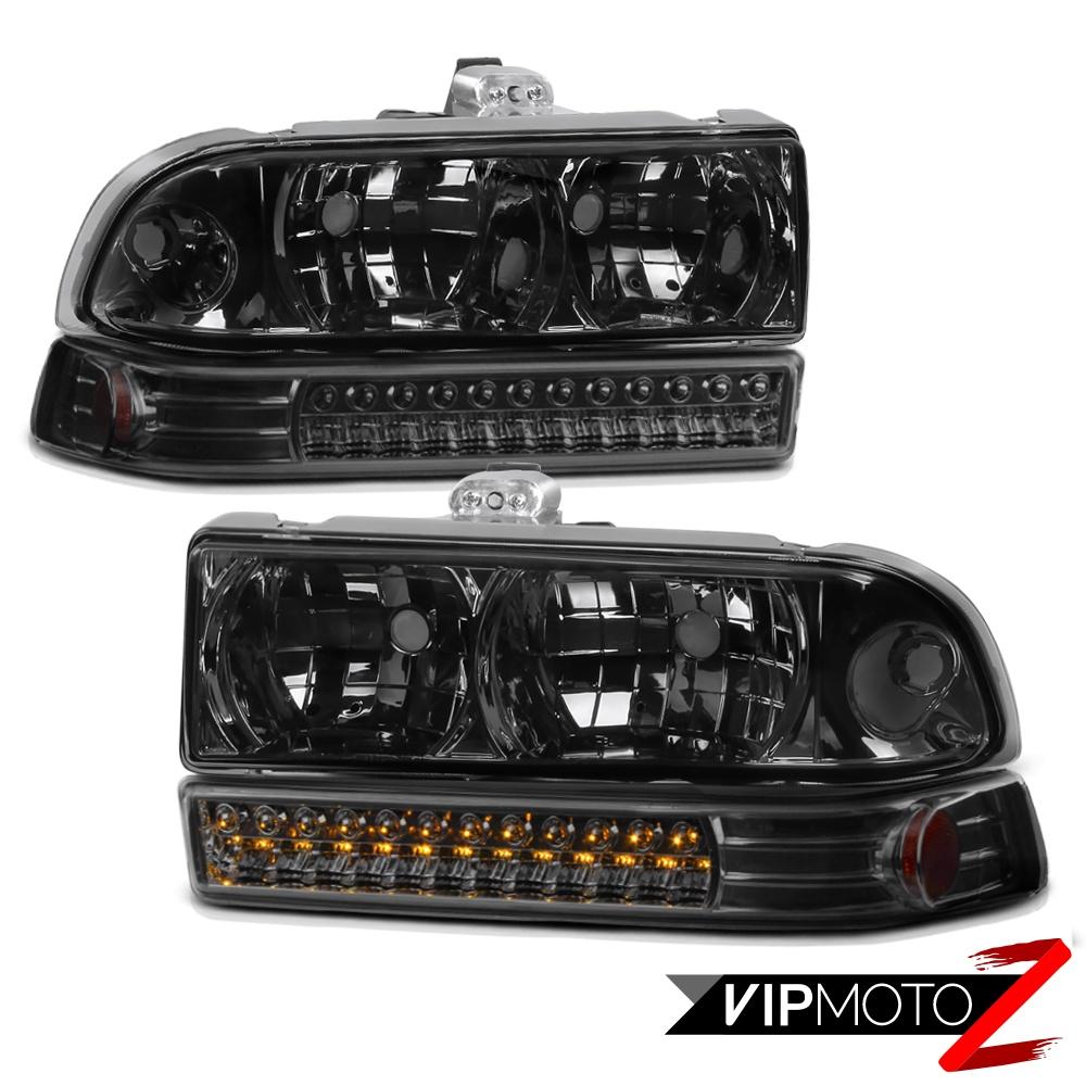 98 04 Chevrolet S10 Blazer Smoke Headlights Led Smd Drl