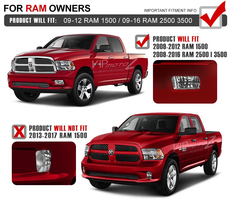 Built-In LED 2009-2016 Dodge Ram 2500 3500 Smoke Fog Light