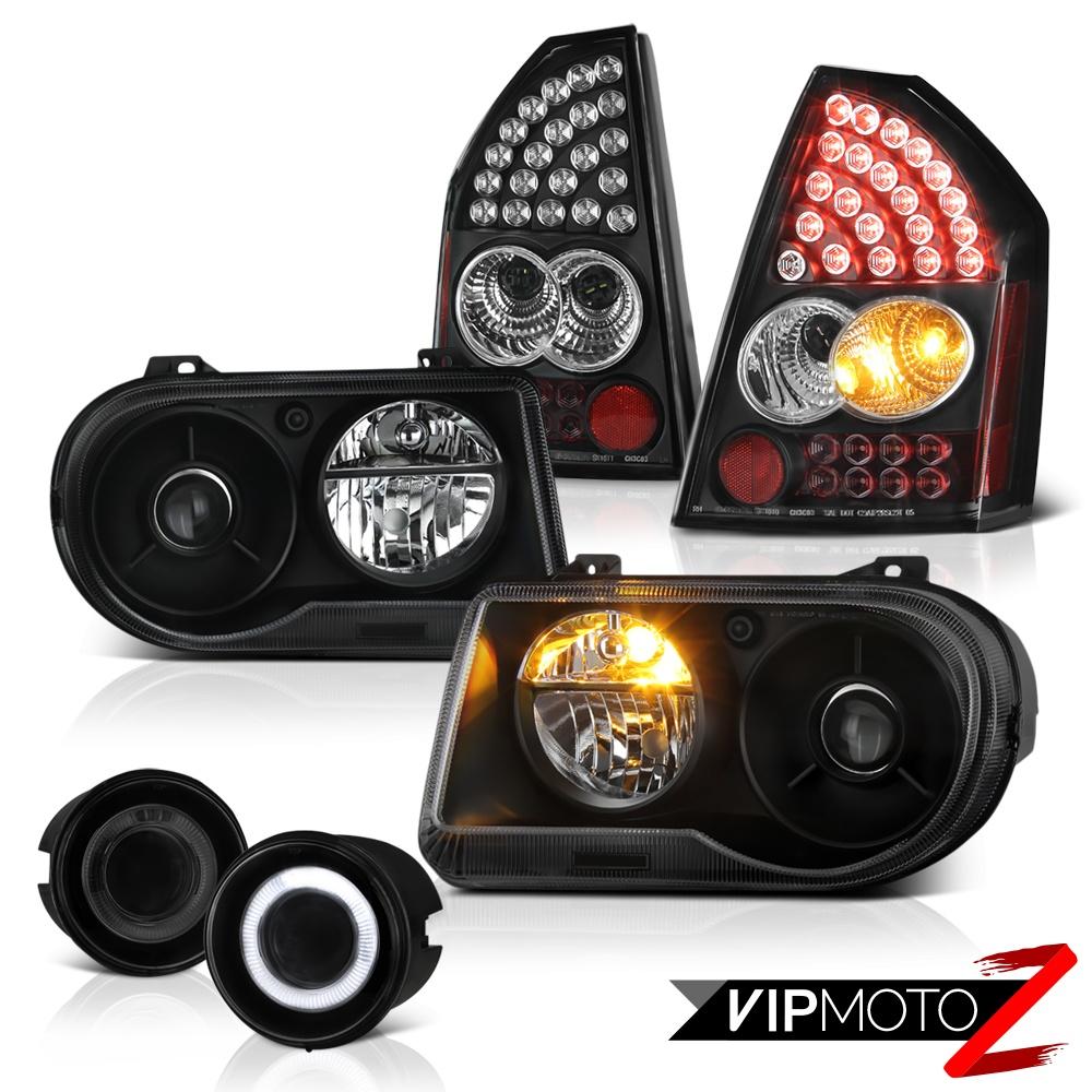 2005 2006 2007 Chrysler 300c Srt8 Clear Black Headlights: 05-07 Chrysler 300C SRT8 Jet Black Headlights LED