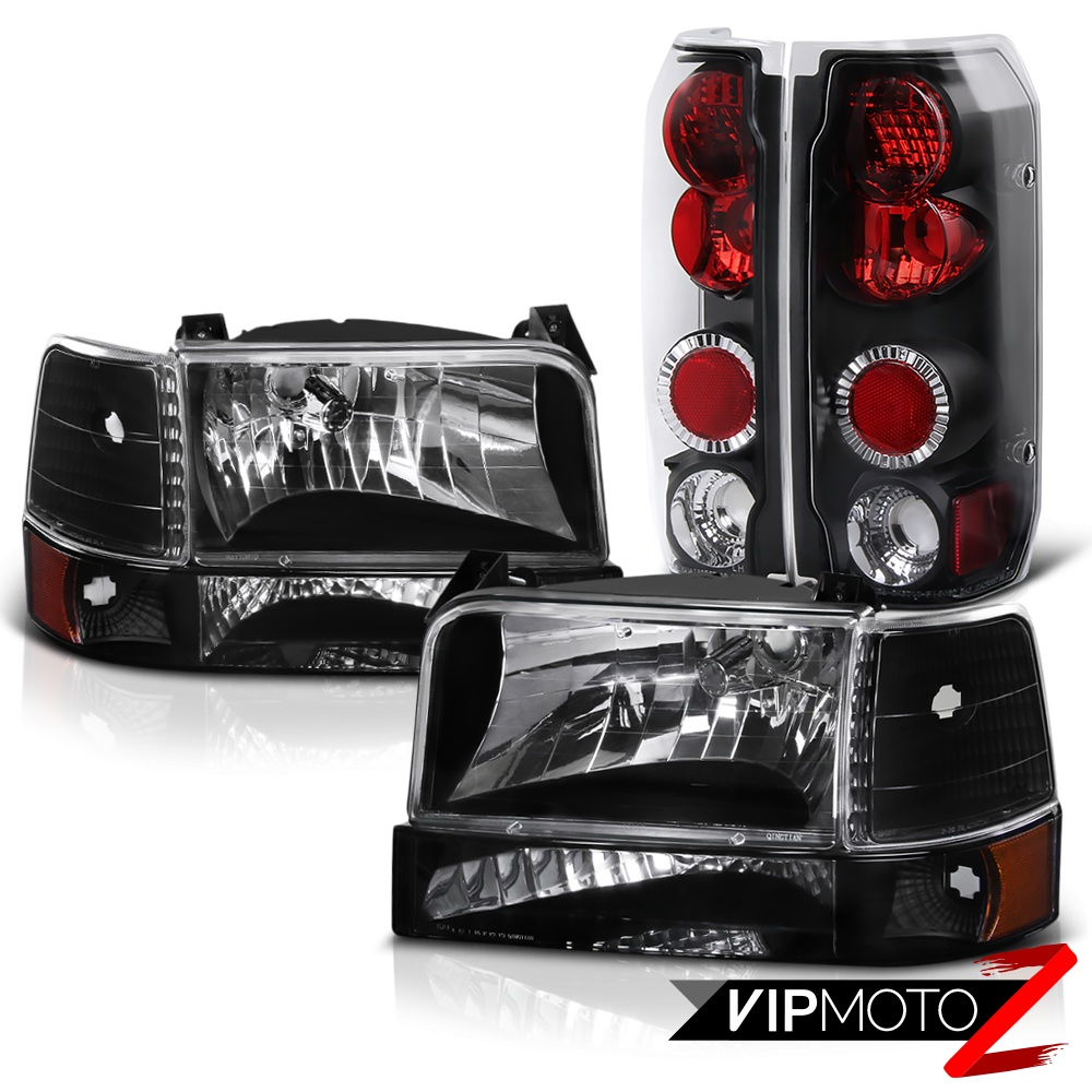 HD JH FB92 SET AM BK_111 FF15089 BK black headlight corner signal tail lights lamps 92 96 ford f150  at panicattacktreatment.co
