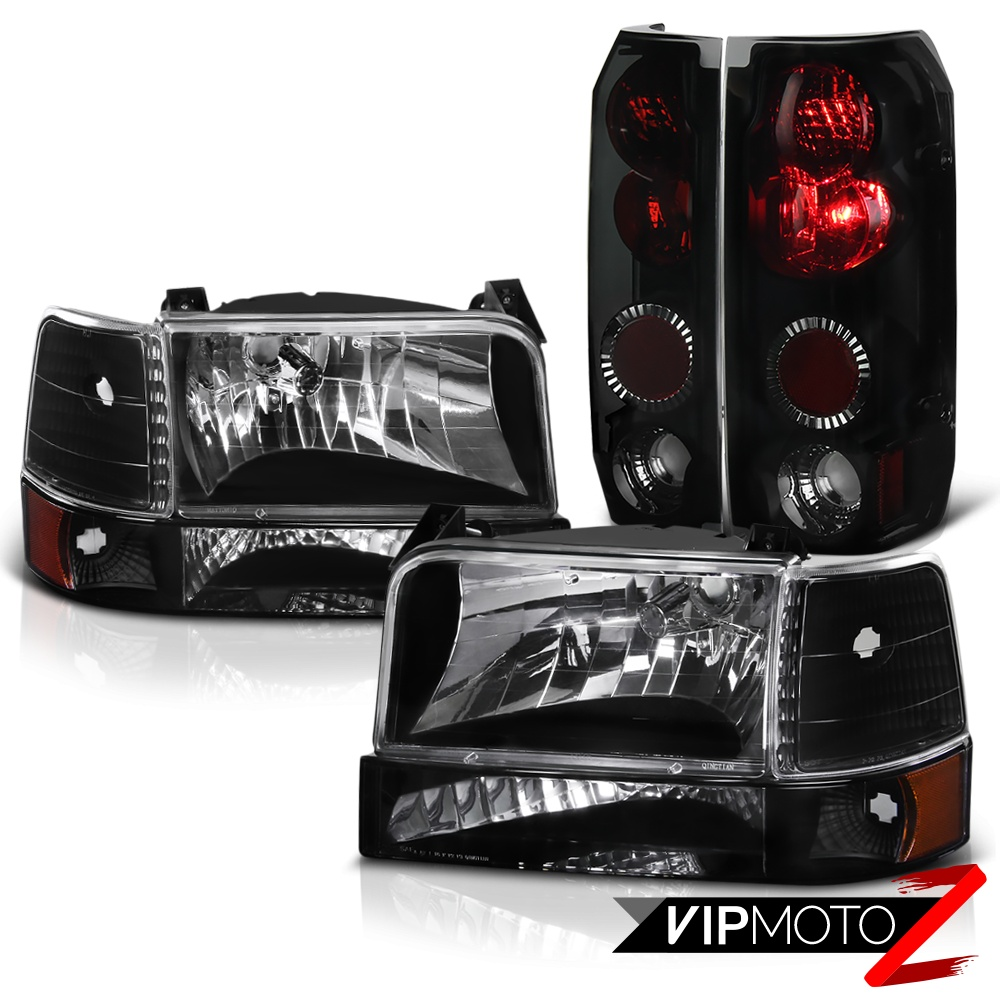 Silverado 1996 chevy silverado accessories : 1992-1996 Ford Bronco F150 F250 F350 Black Bumper Headlights Smoke ...