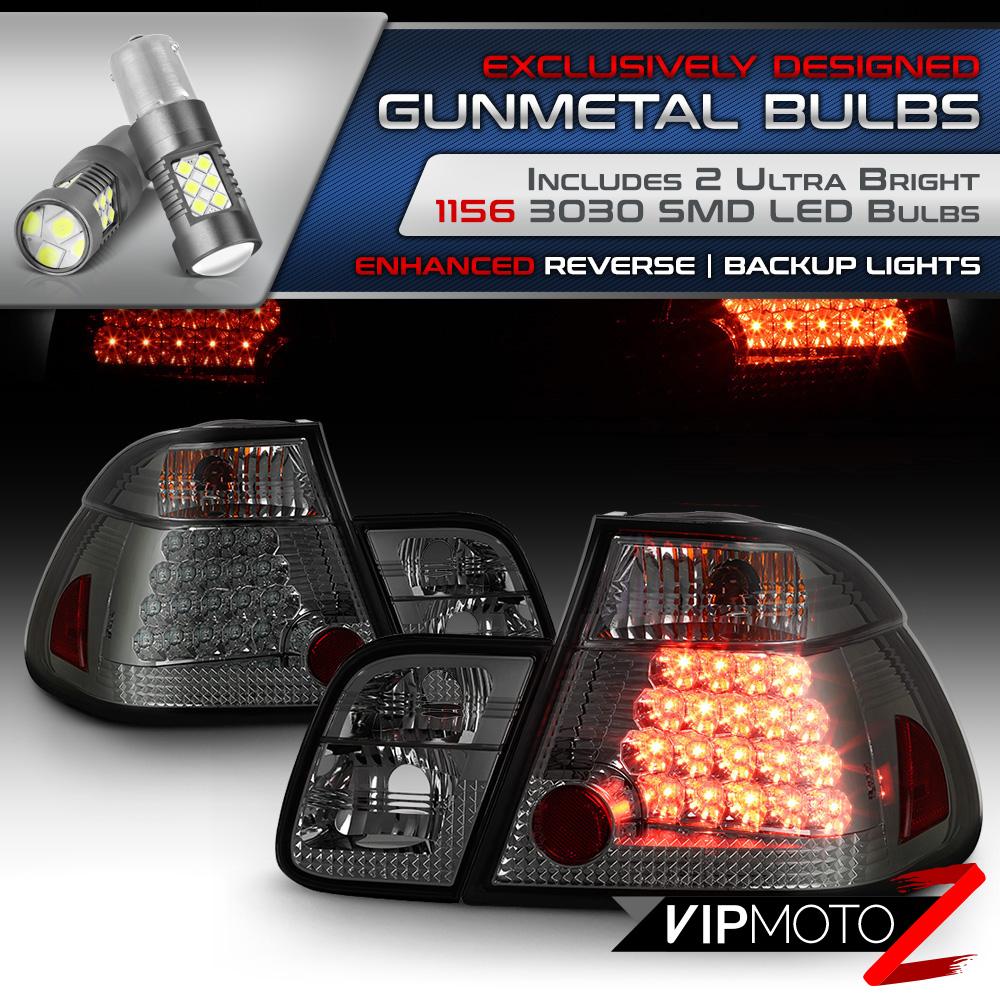 !24 LED Chips Reverse Bulb! For 02-05 BMW 3 E46 4DR SMOKE